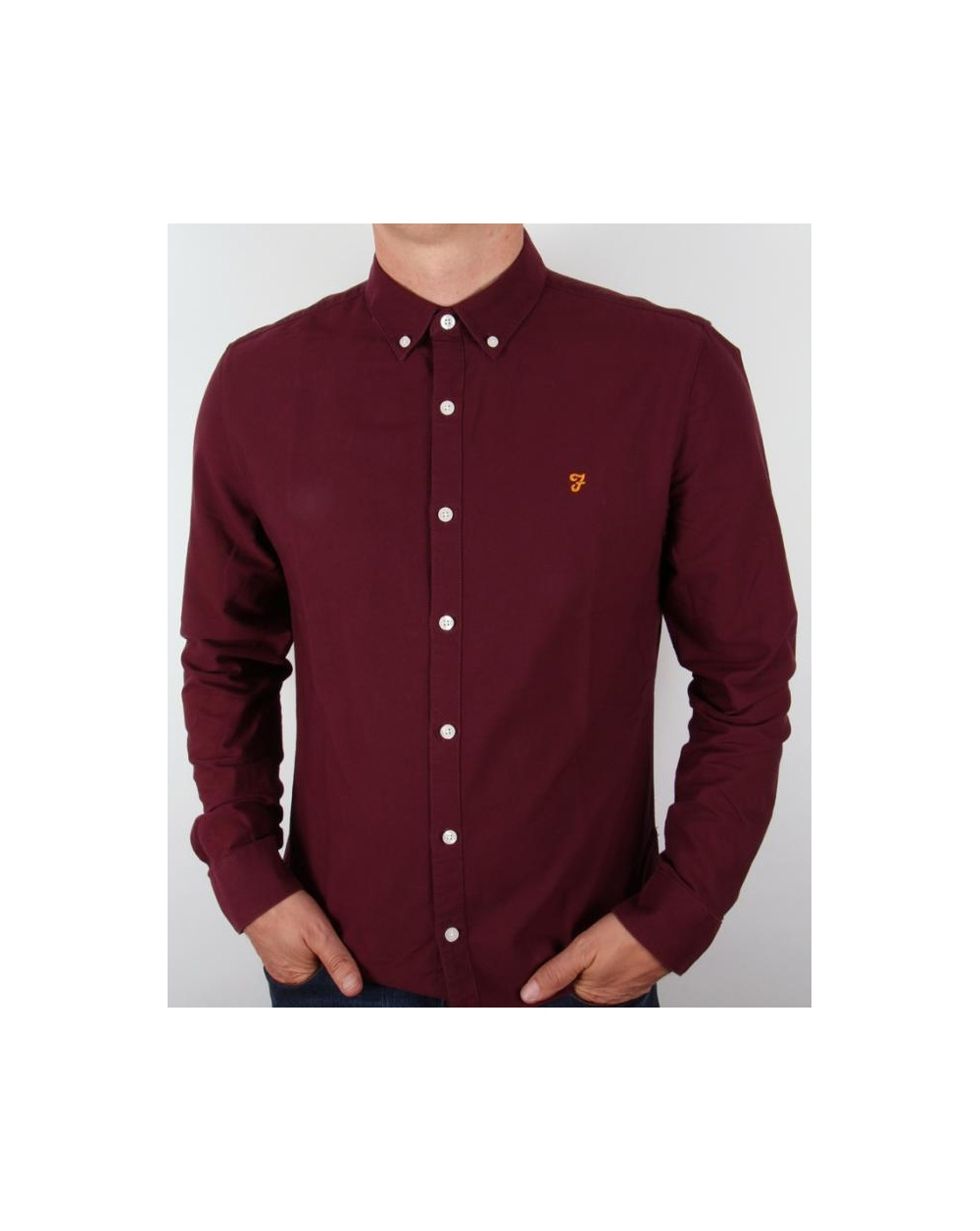 Farah Brewer Shirt Burgundy Long Sleeve Vintage Mens
