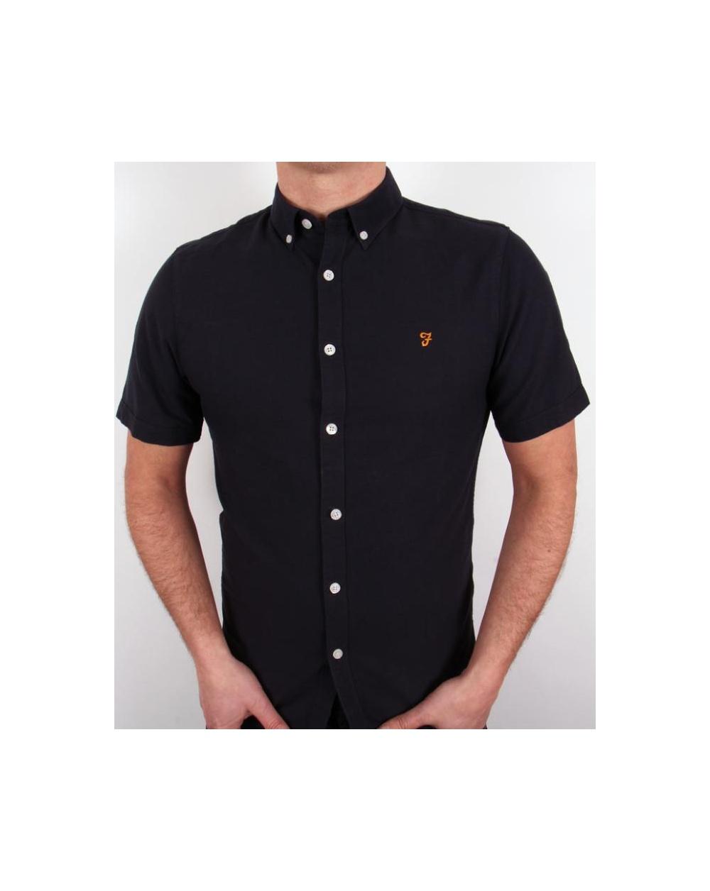 farah short sleeve shirt navy short sleeve cotton mens
