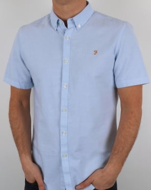Farah Brewer Short Sleeve Shirt Sky Blue