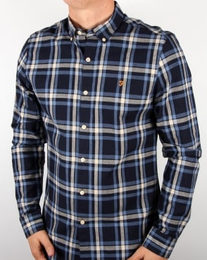 Farah Check Shirt Navy Yale