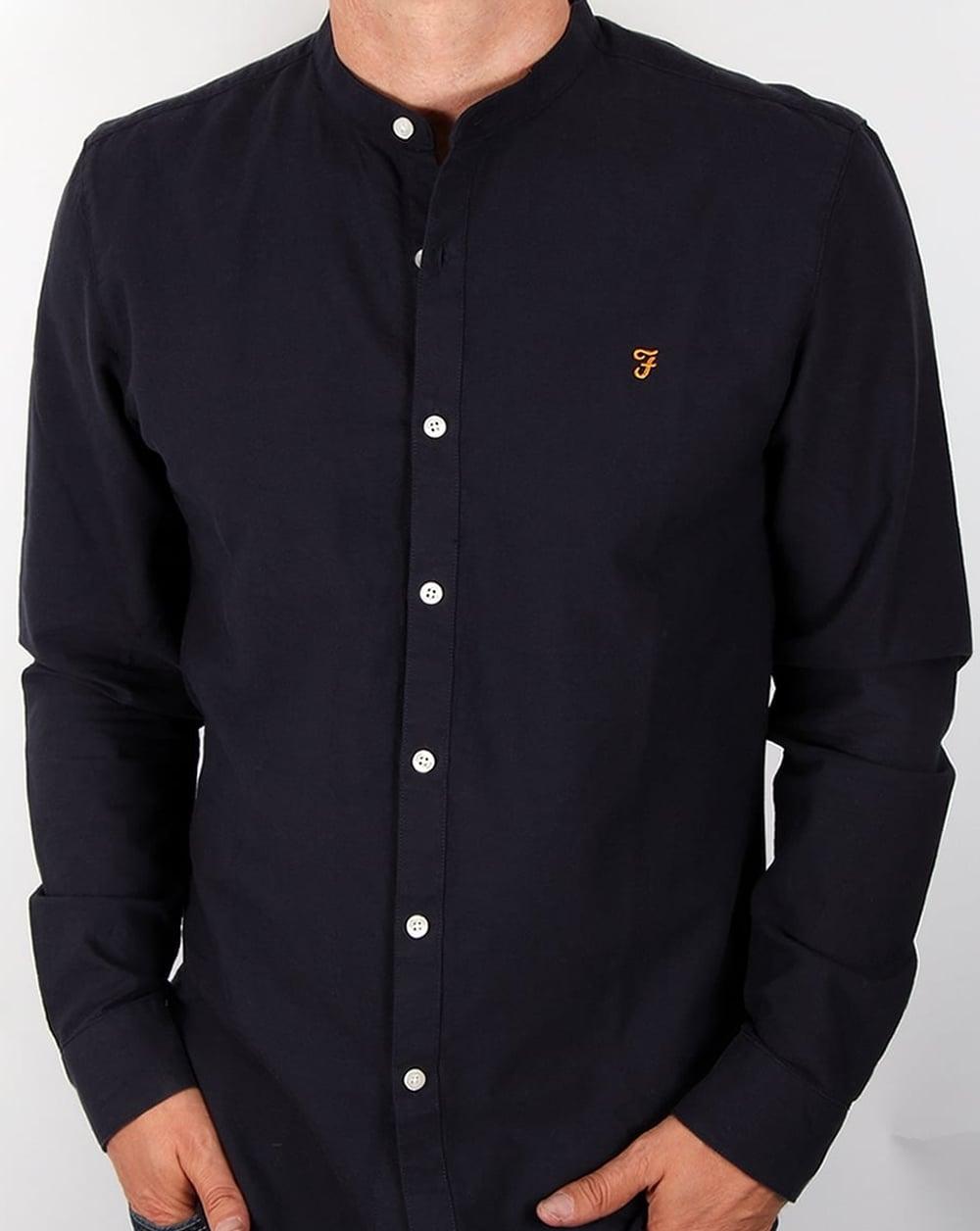 Farah Brewer Grandad Collar Shirt Navy, Men's, Long Sleeve, Casual