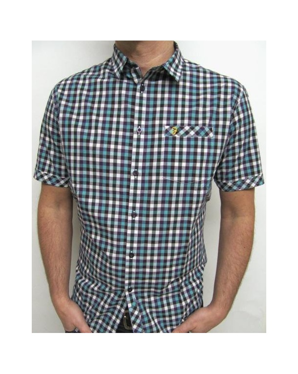 Farah Constable Short Sleeve Check Shirt Hunter Green
