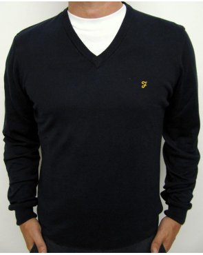 Farah Devlin V Neck Jumper Navy