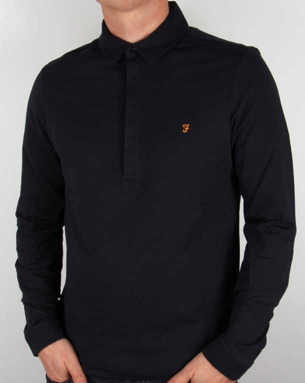Farah Earlston Long Sleeve Polo Shirt Navy