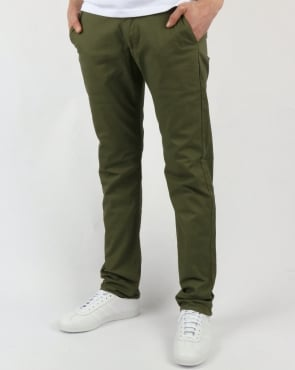 Farah Elm Chino Twill Trousers Military Green