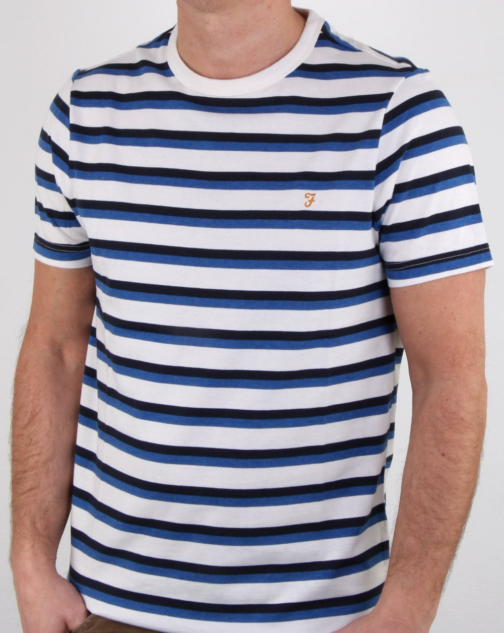 459349439 Farah Factory T Shirt White, Mens, Cotton, Crew Neck, Stripe, Nautical