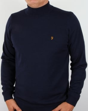 Farah Fenton High Turtle neck Jumper navy