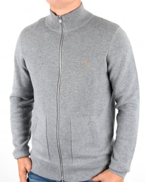 Farah Fermoy Knitted Track Top Gravel Marl