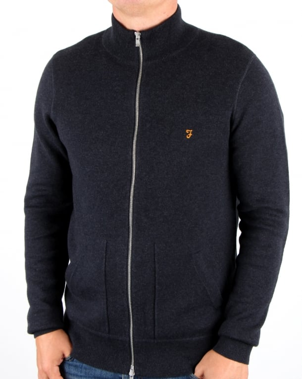 Farah Farah Fermoy Knitted Track Top True Navy Marl