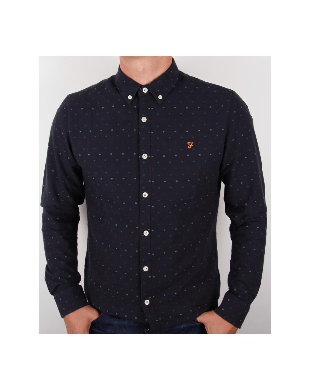 Farah Garfield Slim Fit Shirt Navy Blue Long Sleeve Cotton