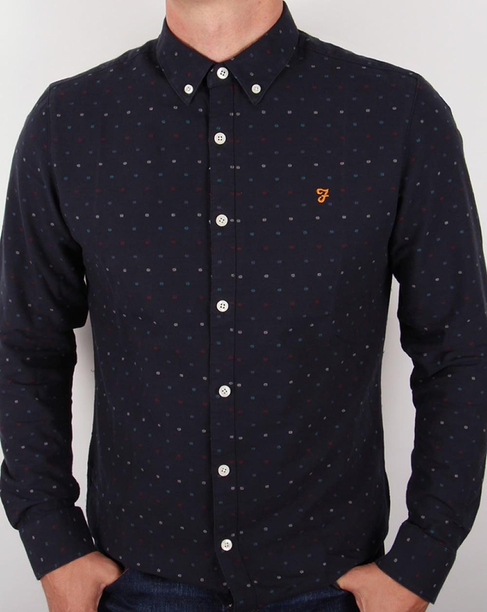 9073fdd157b4 Farah Farah Garfield Slim Fit Shirt Navy Blue