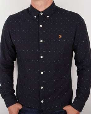 Farah Garfield Slim Fit Shirt Navy Blue