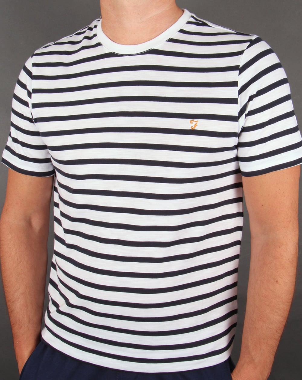 Farah gieger striped t shirt white navy crew neck tee