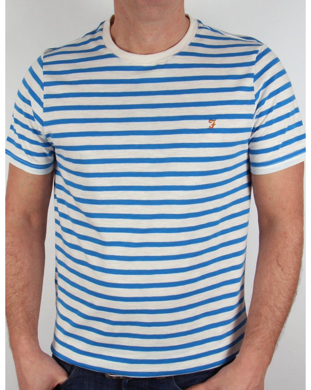 Farah gieger s s striped t shirt white royal blue crew for Blue white striped t shirt