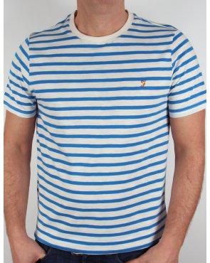 Farah Gieger Striped T-shirt White/Royal Blue