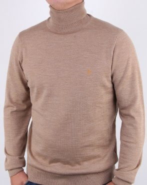 Farah Gosforth Merino Roll Neck Light Sand