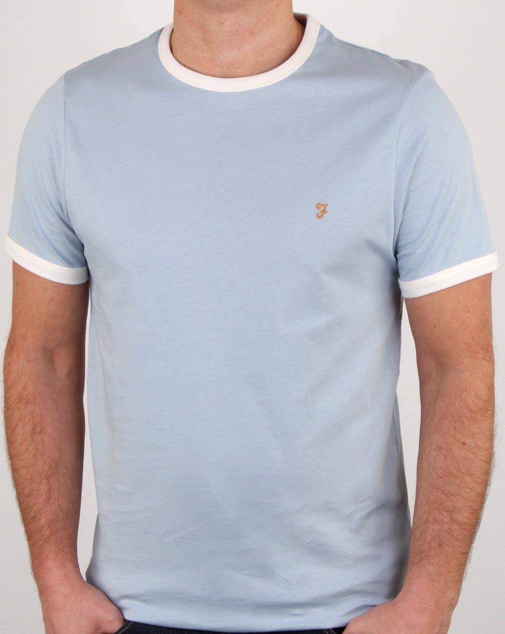 Cotton Groves T Farah Shirt Ringer BlueMensRingerTee Lake 1cKTFJl