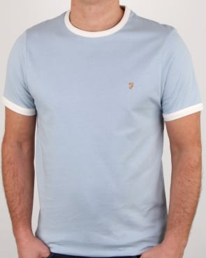 Farah Groves Ringer T Shirt Lake Blue