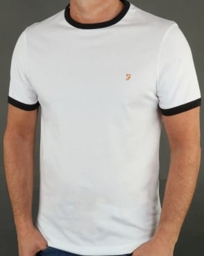 Farah Groves Ringer T Shirt White