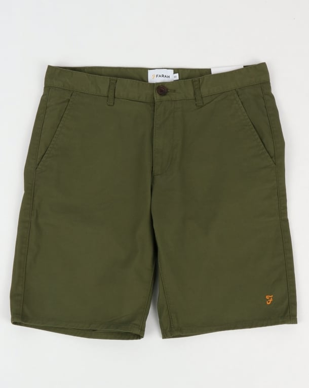 Farah Hawk Chino Twill Shorts Military Green
