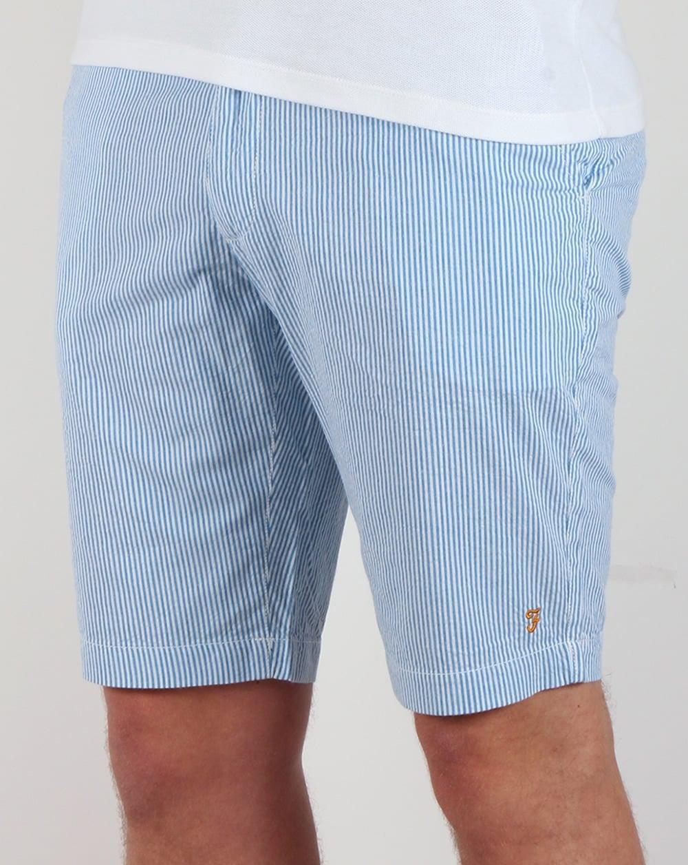 Farah Hawking Stripe Shorts White/Blue,mens,summer,knee length