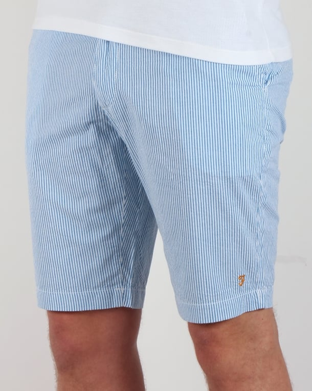 Farah Hawking Stripe Shorts White/Blue