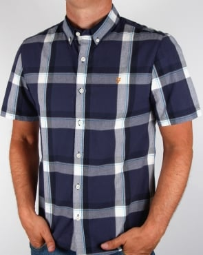 Farah Herne Check Shirt Navy