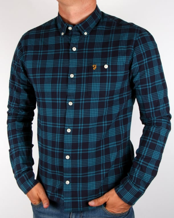 Farah Lanark Check Shirt Navy