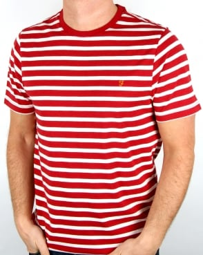 Farah Lennox Striped T Shirt Deep Red Marl
