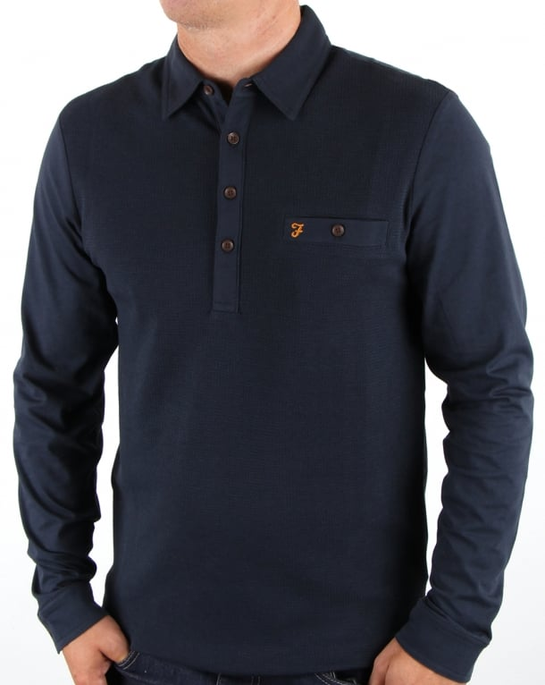 Farah Lester Long Sleeve Polo Shirt Navy