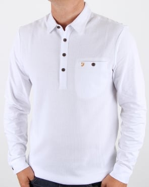 Farah Lester Long Sleeve Polo Shirt White