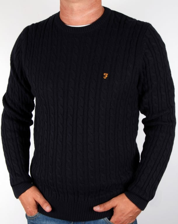 Comfortable Farah Vintage Lewes Sweater Mens True Navy Online Shopping