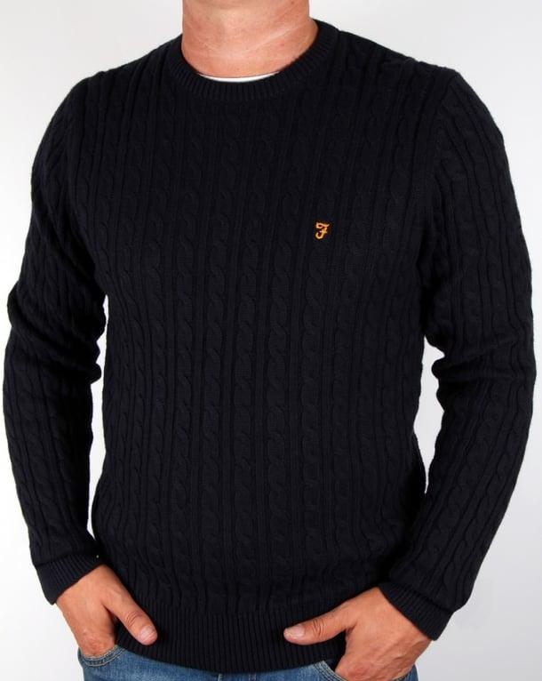 Comfortable Farah Vintage Lewes Sweater Mens True Navy Online Shopping