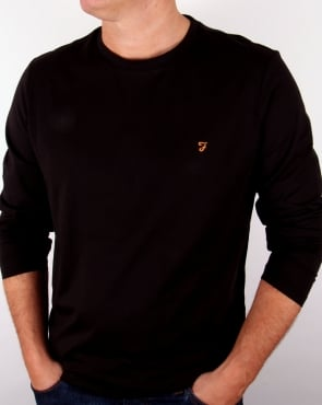 Farah Long Sleeve Denny Logo T-shirt Black