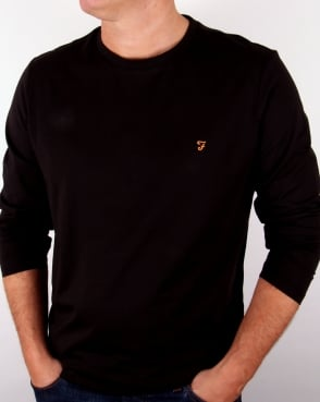 Farah Long Sleeve Denny Logo T-shirt Black