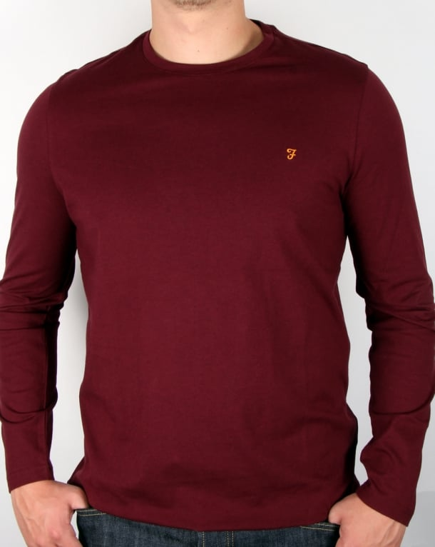 Farah Long Sleeve Denny Logo T-shirt Burgundy