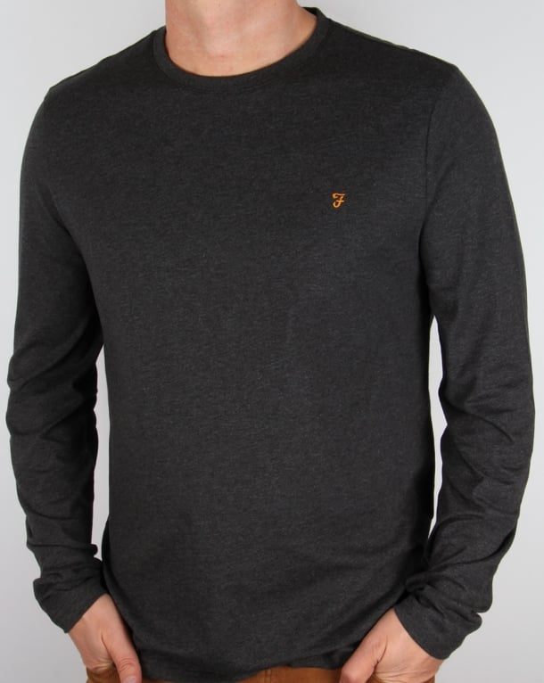 Farah Long Sleeve Denny Logo T-shirt Grey Marl