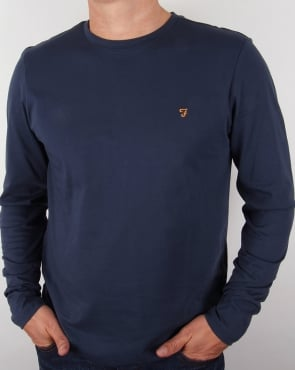 Farah Long Sleeve Denny Logo T-shirt Navy