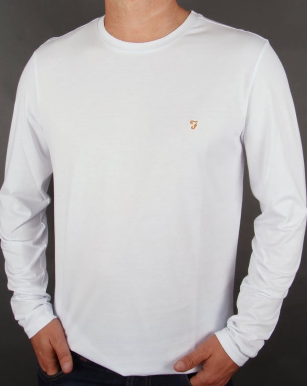 Farah Farah Long Sleeve Denny Logo T-shirt White