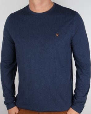 Farah Long Sleeve Denny Logo T-shirt Yale Blue