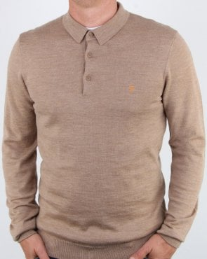 Farah Maidwell Knitted Polo Light Sand