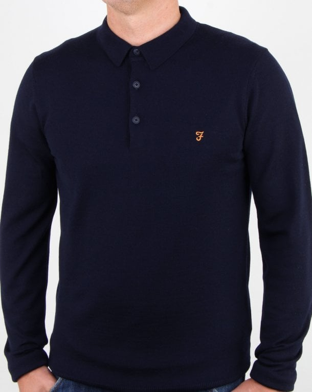 Farah Maidwell Knitted Polo True Navy