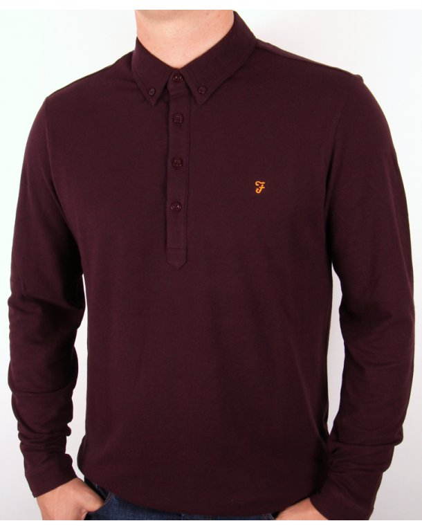 Farah Merriweather Polo Shirt Burgundy Marl