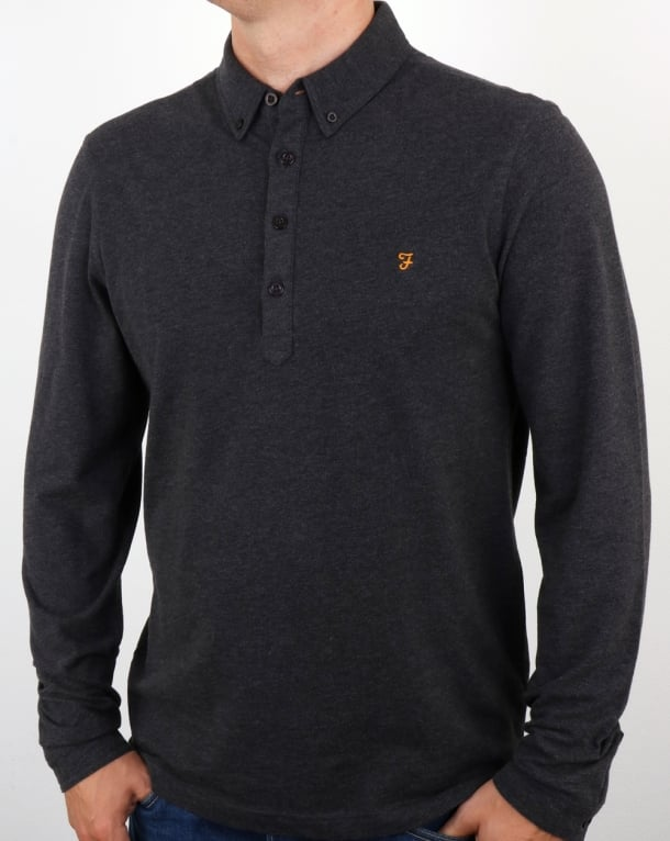 Farah Merriweather Polo Shirt Dark Asphalt Marl
