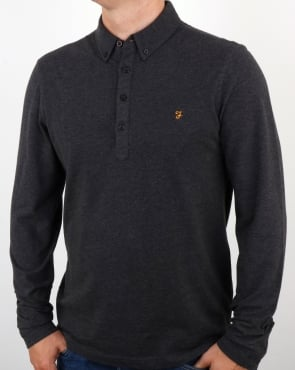Farah Merriweather Polo Shirt Dark Asphalt Marl