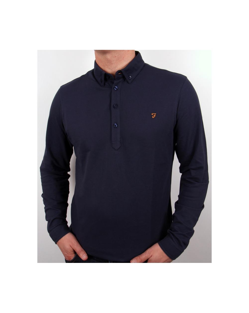 Farah Merriweather Polo Shirt Navy Blue Long Sleeve Cotton