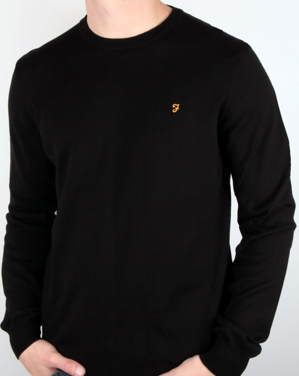 Farah Mullen Crew Neck Cotton Jumper Black