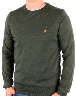 Farah Mullen Crew Neck Wool Jumper Green Marl