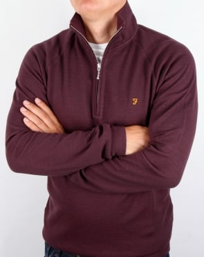 Farah QTR Zip Jumper Aged Port