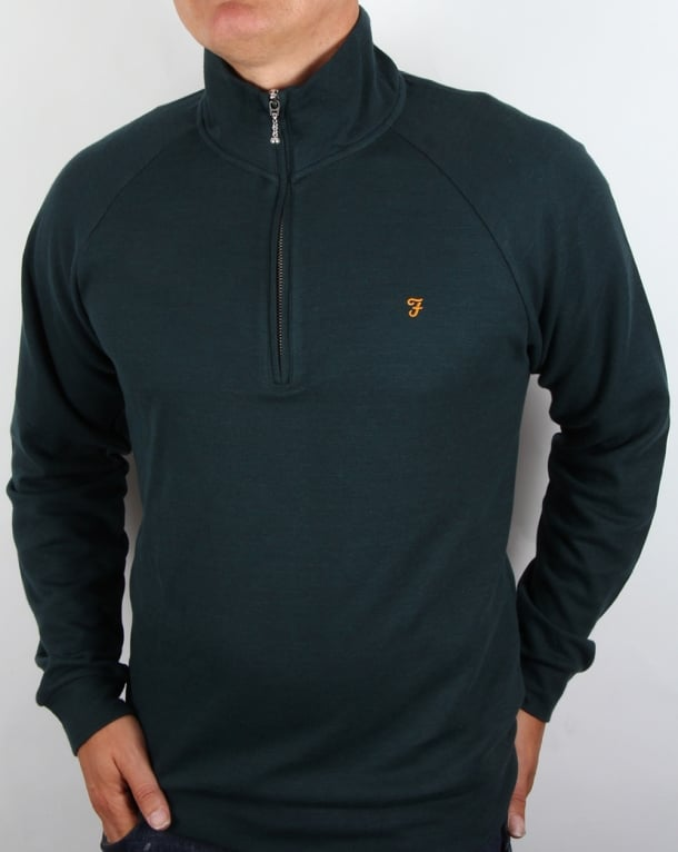 Farah QTR Zip jumper Deep Green